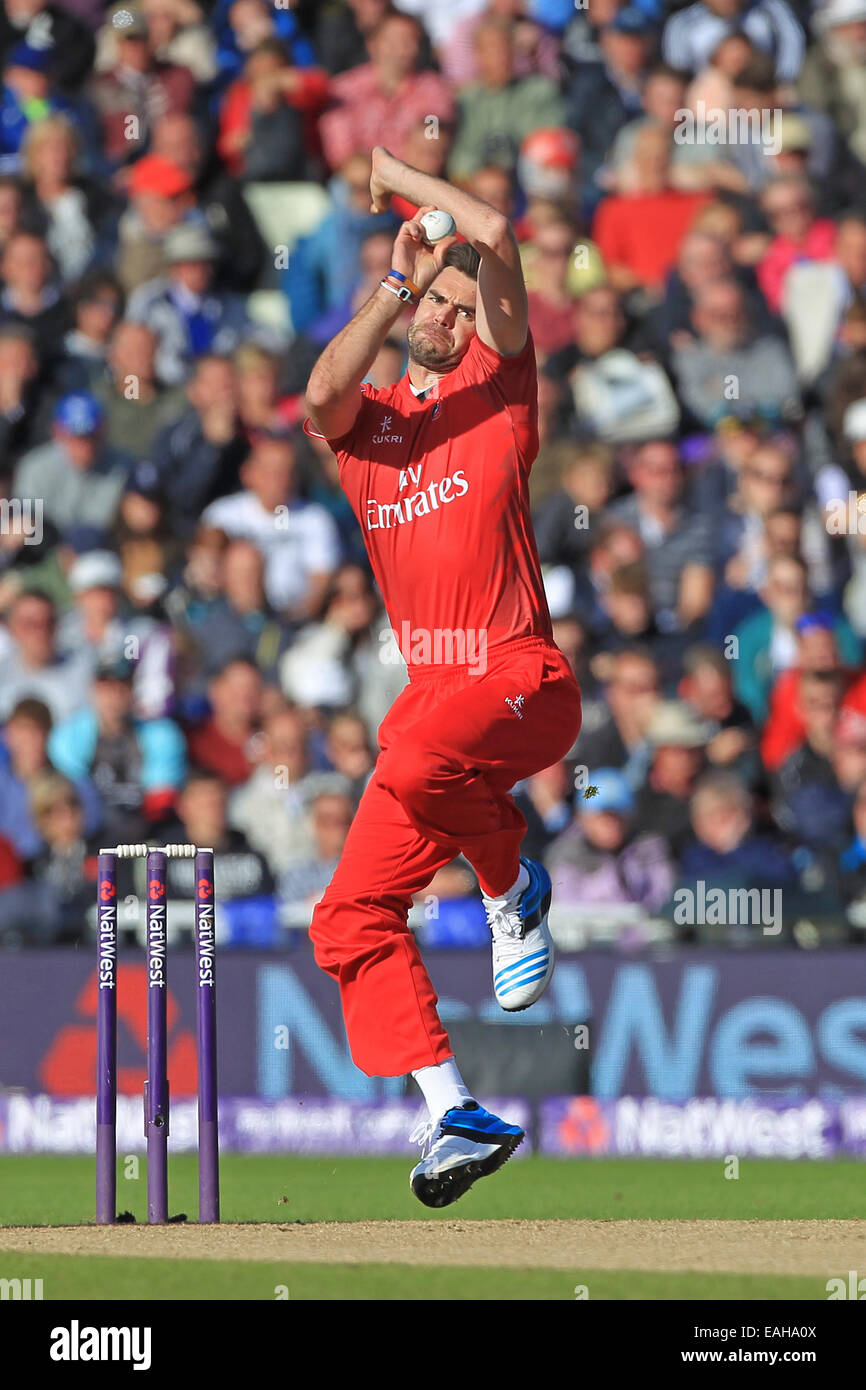 Cricket - James Anderson of Lancashire Lightning bowls during the NatWest T20 Blast second semi final match at Edgbaston - Stock Image