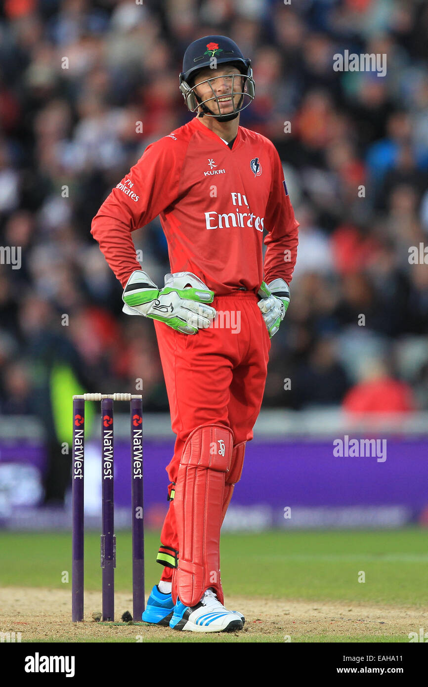 Wicket keeper Jos Buttler of Lancashire Lightning during the NatWest T20 Blast final at Edgbaston in 2014 - Stock Image