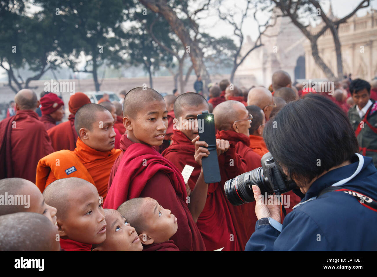 Monks at the Ananda pagoda festivals in Bagan - Stock Image