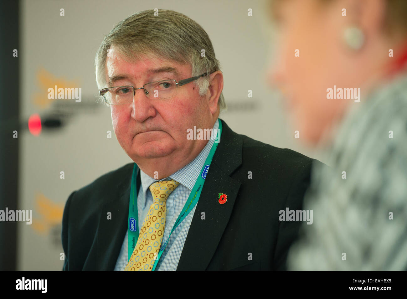 Aberystwyth, Wales, UK. 15th November, 2014. Roger Hugh Williams, CBE, MP, Member of Parliament (MP) for the constituency Stock Photo
