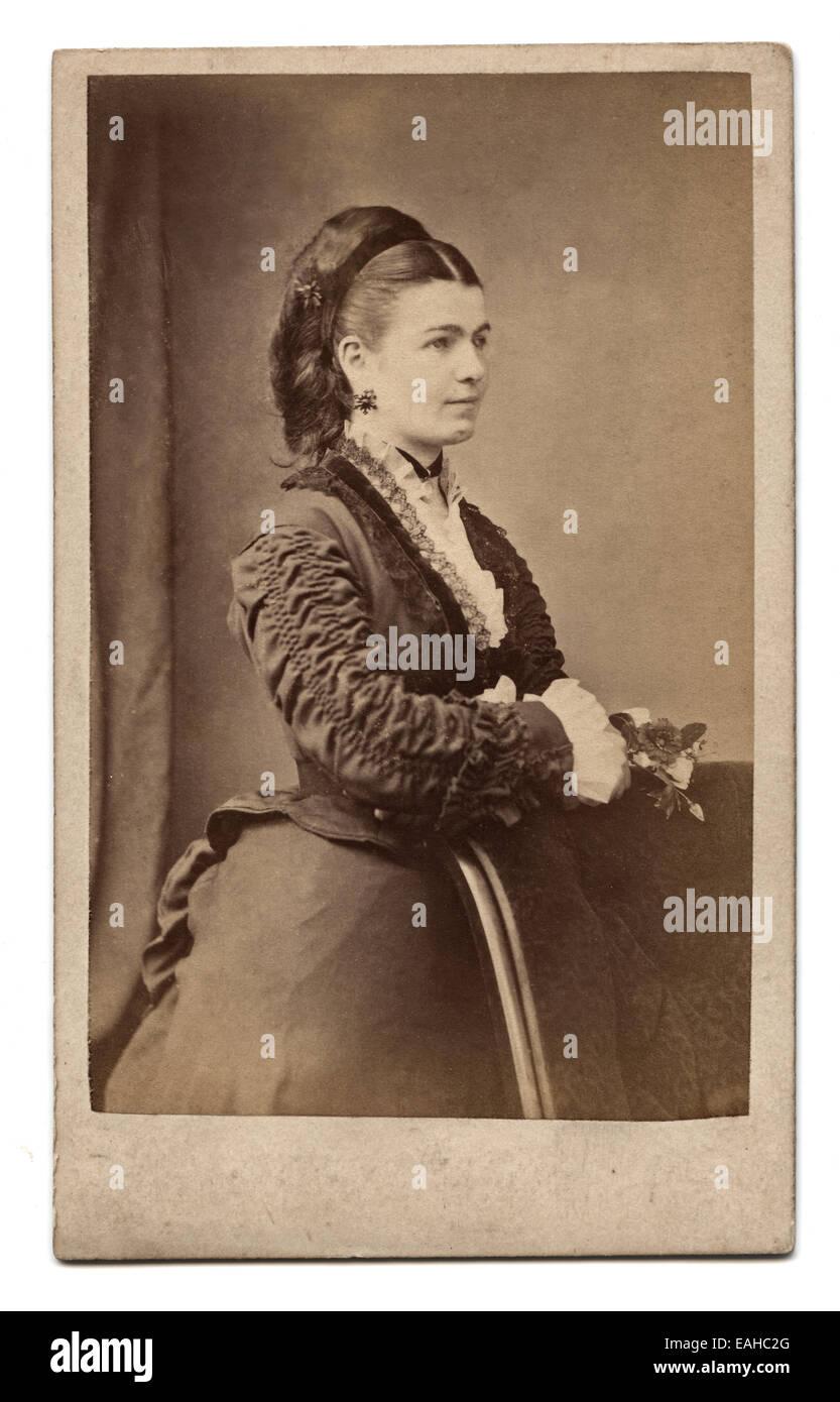 Victorian Carte De Visite Portrait Of A Young Woman Taken In The