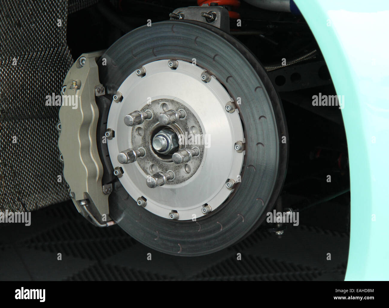 The Disc and Calliper of a Racing Sports Car. - Stock Image