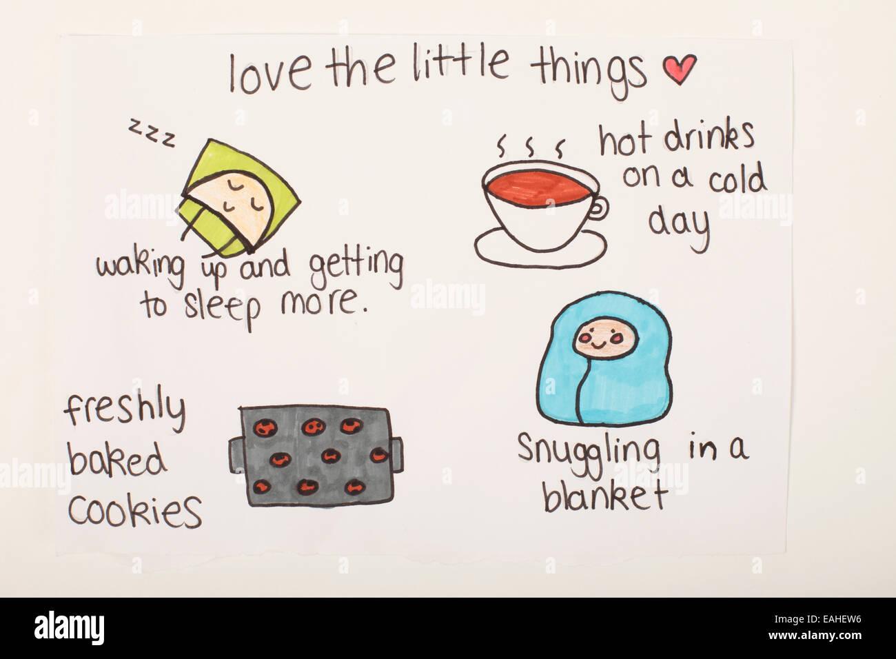 life story advice drawing, motivational cartoon. - Stock Image