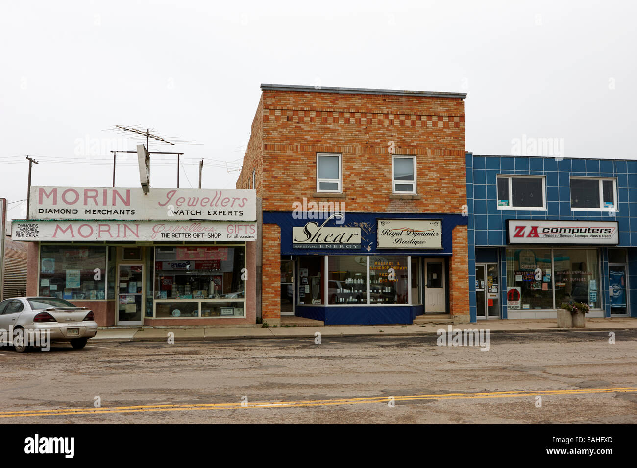 shopfronts of small businesses on first street the town of assiniboia sk Canada - Stock Image