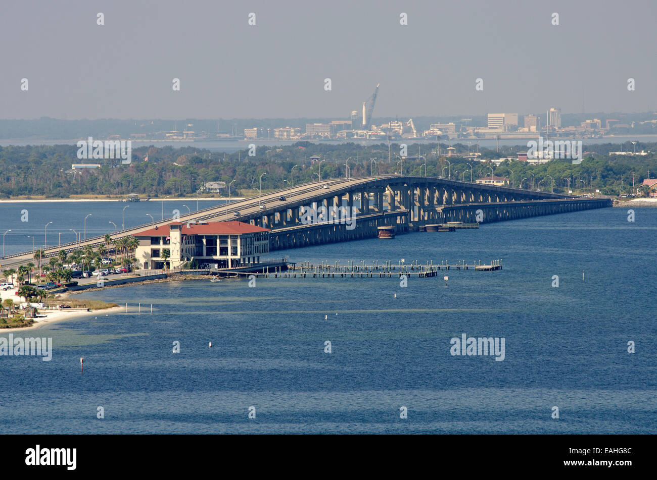 Toll Bridge over Santa Rosa Sound between Pensacola and Pensacola Beach Florida USA - Stock Image