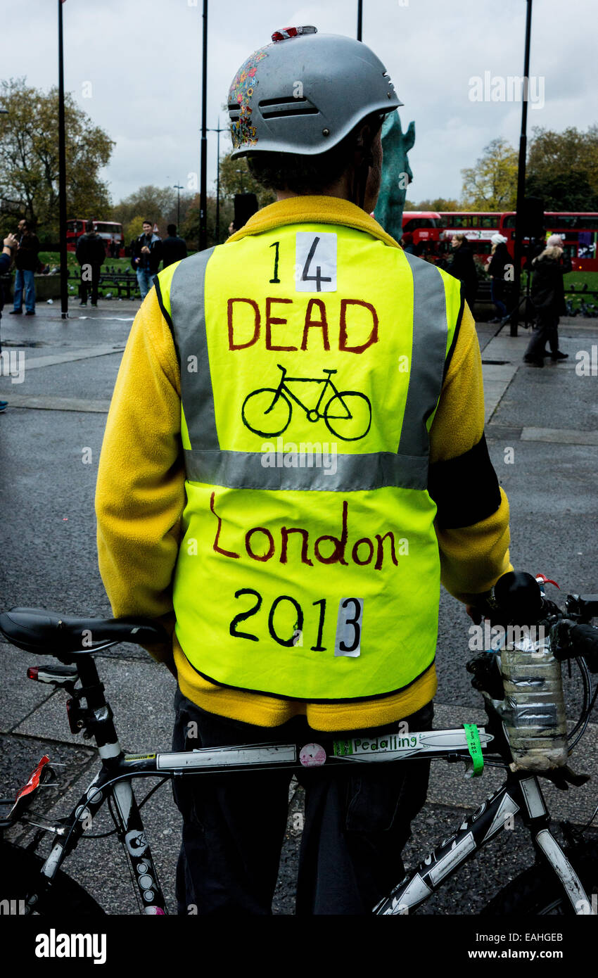 Protester at London's Oxford Street march against cycle deaths and pollution in London. - Stock Image
