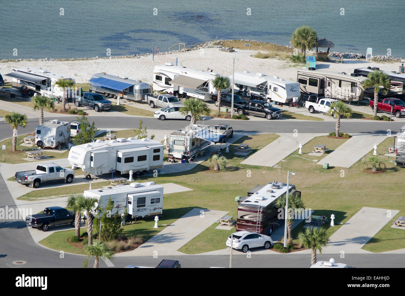RV and trailer park on Santa Rosa Sound Pensacola Beach northern Florida USA Stock Photo