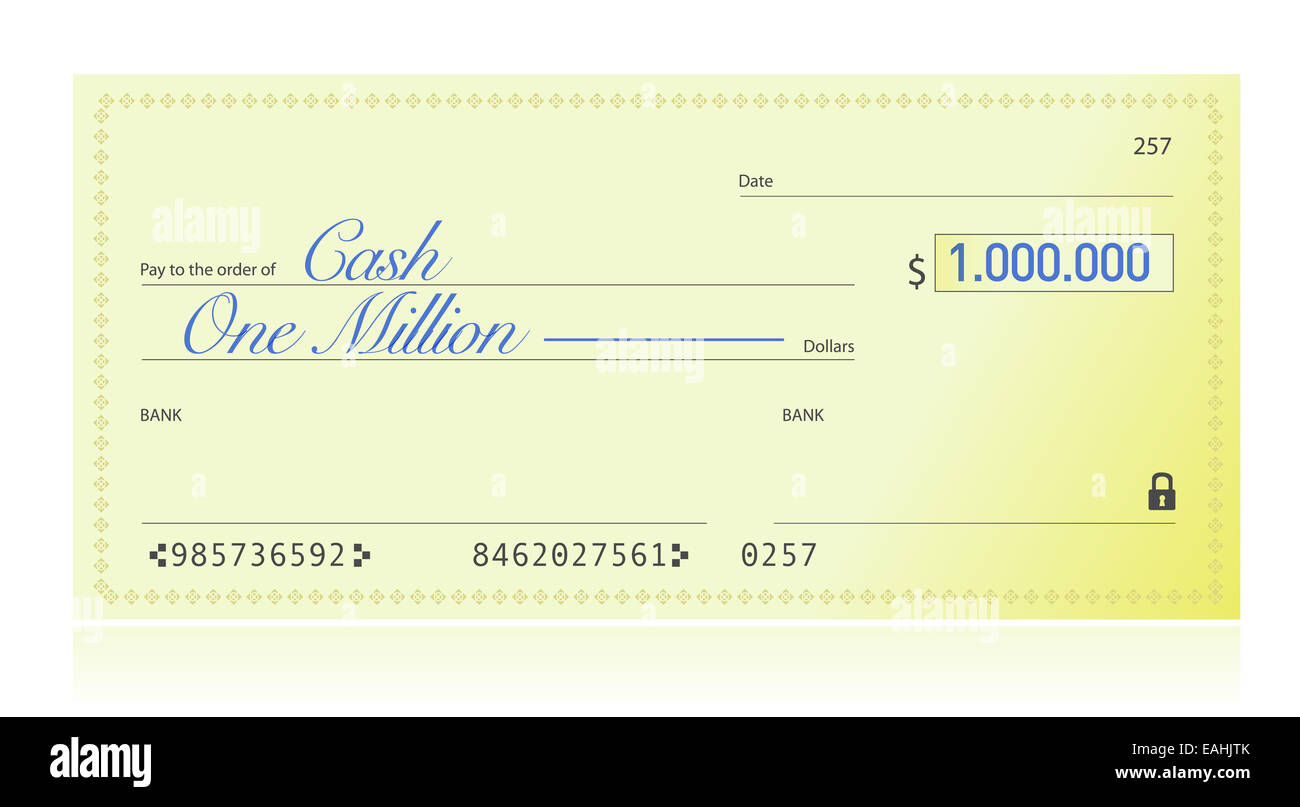 Closeup of Check Made Out for One Million Dollars Stock Photo