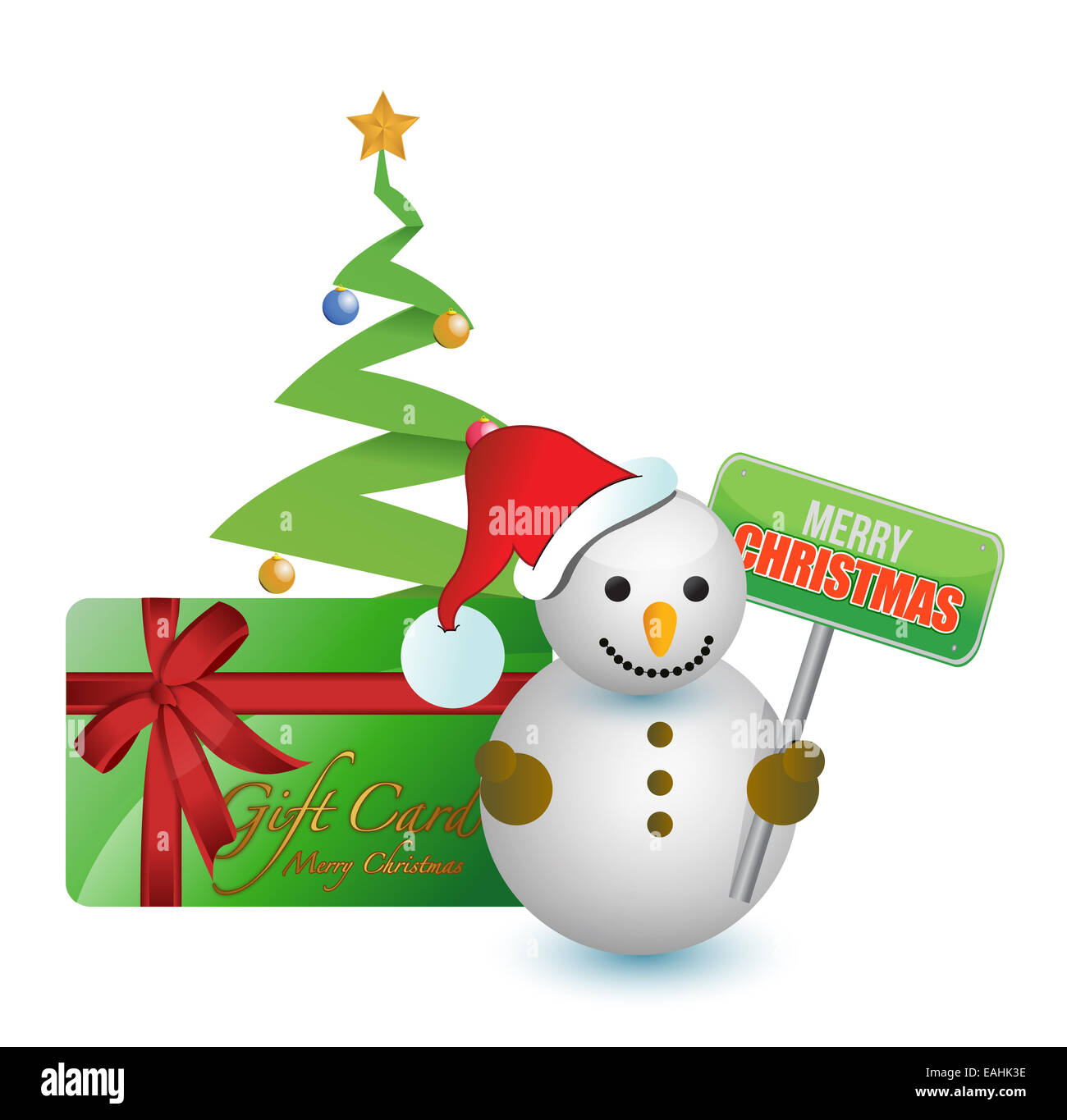 Snowman, tree and merry Christmas gift card Stock Photo: 75376210 ...