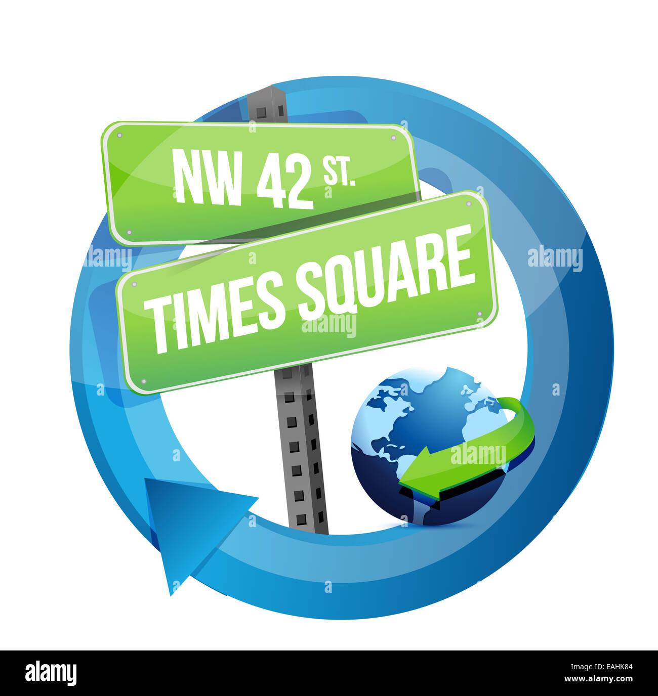 Times square road sign illustration design - Stock Image