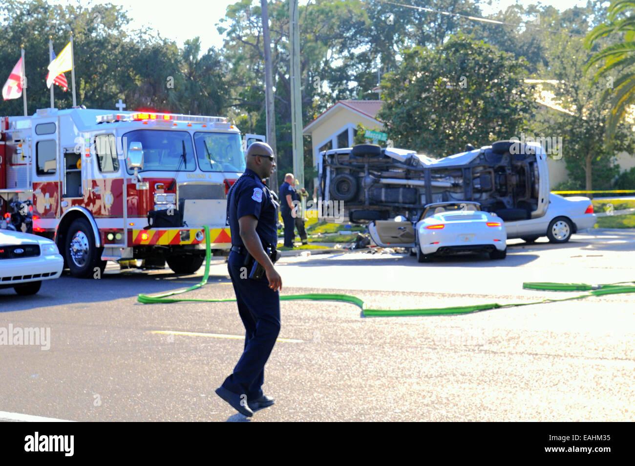 Sarasota, Florida, USA  15th November, 2014  Accident on 41