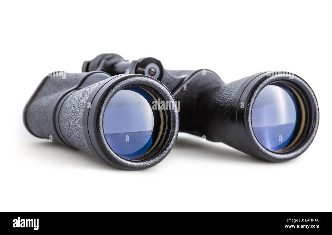 Soviet army binoculars isolated on white - Stock Image