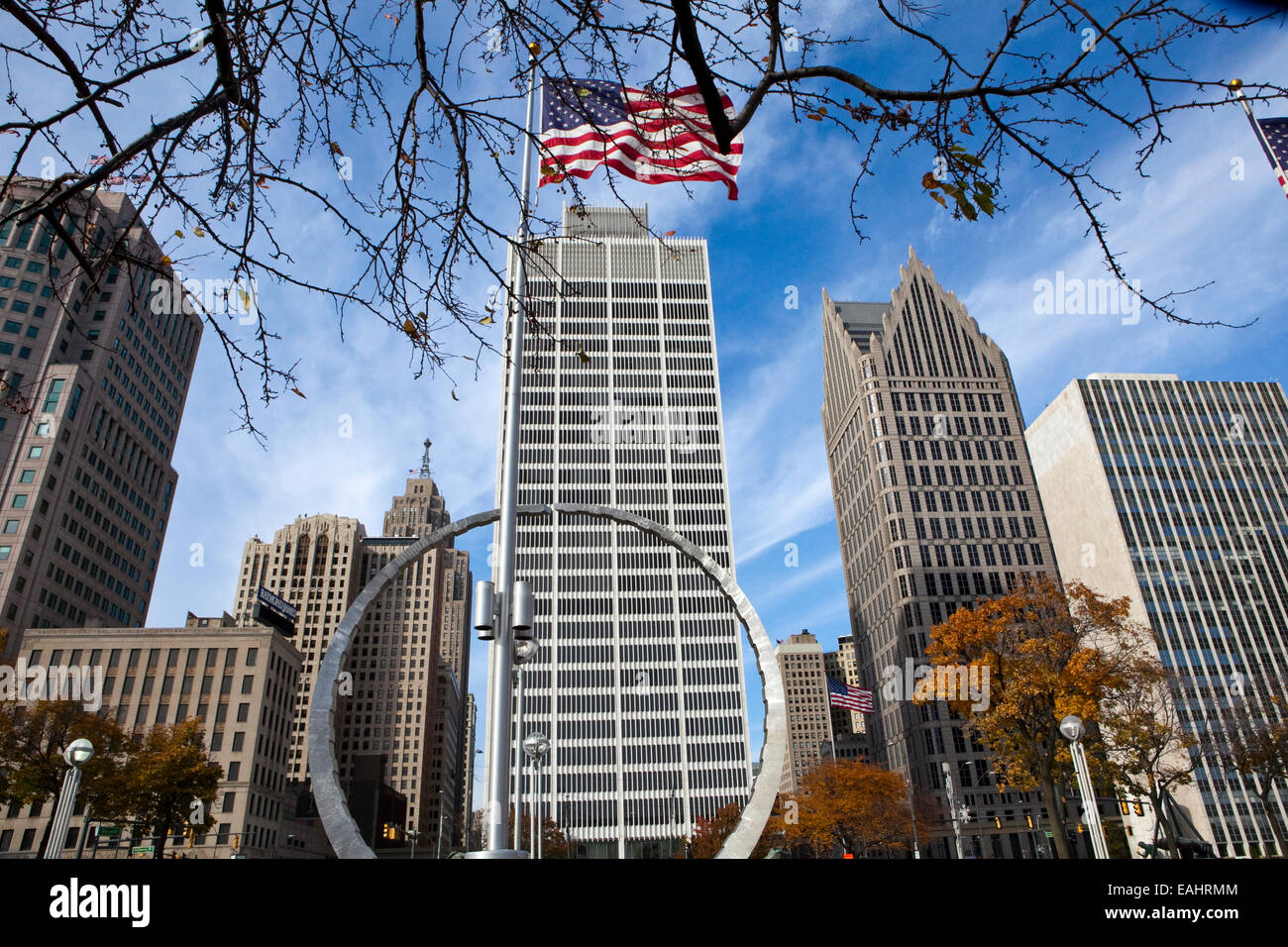 A view of downtown Detroit - Stock Image