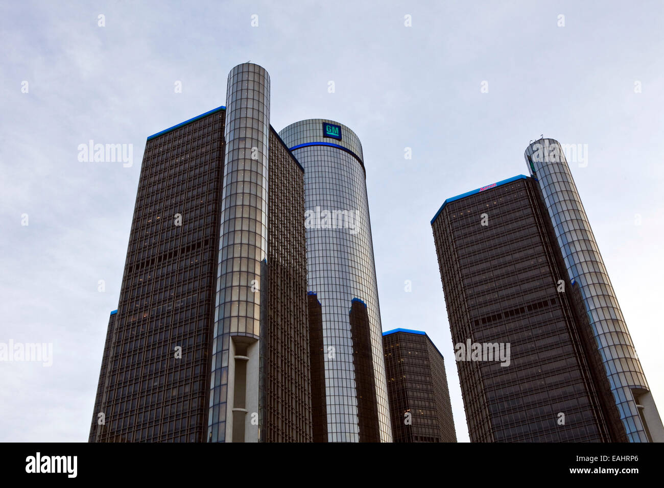 A view of the General Motors headquarters in downtown Detroit. Stock Photo