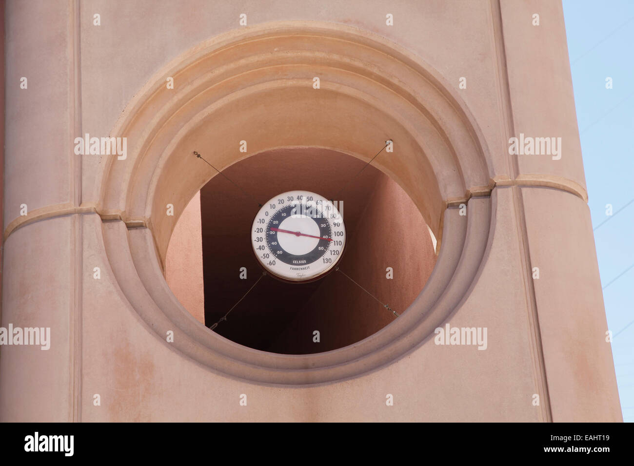 Thermometer in courtyard of Visitor Center at Hoover Dam. - Stock Image