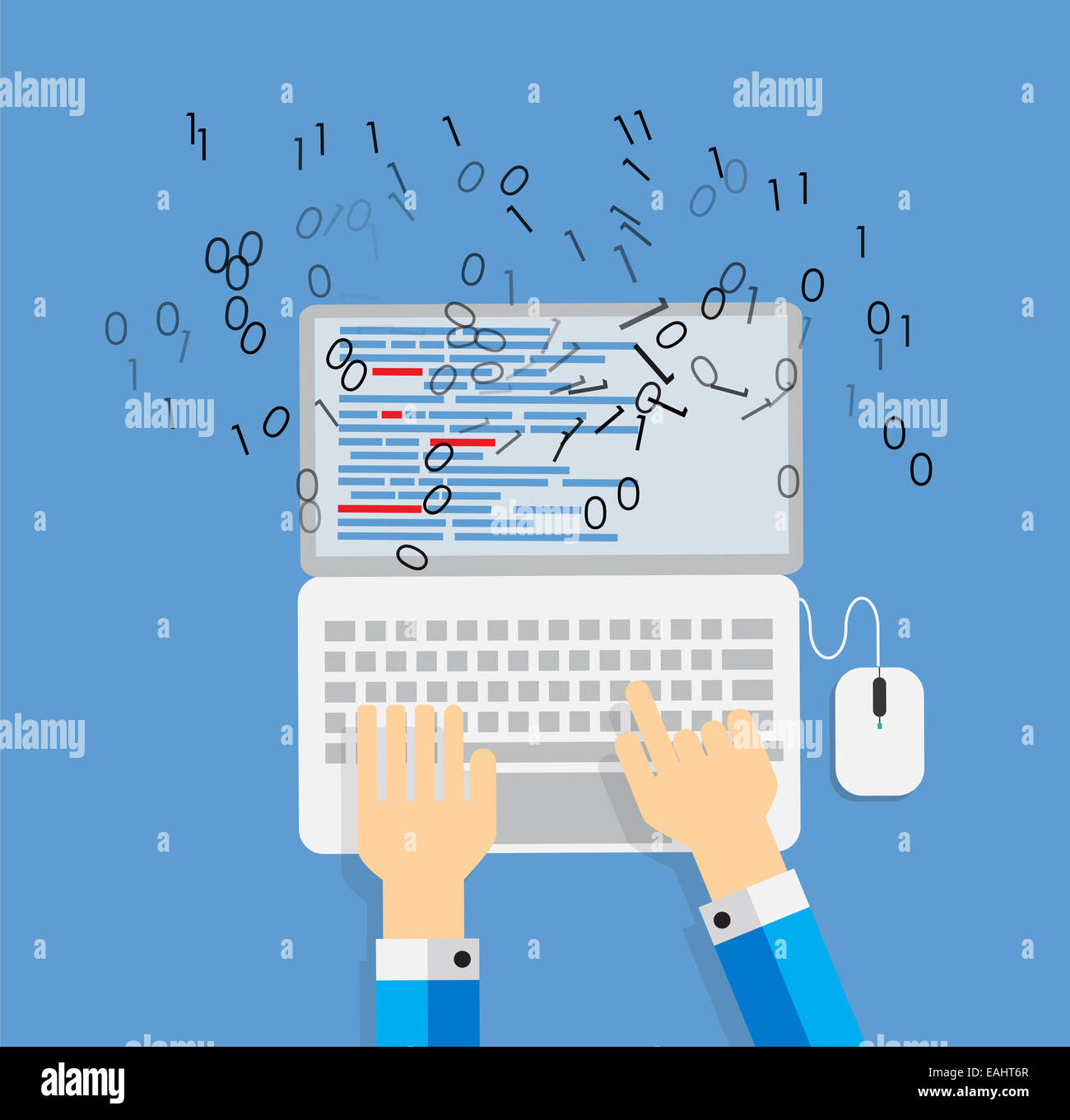 Programming Coding Flat Concept Vector Illustration - Stock Image