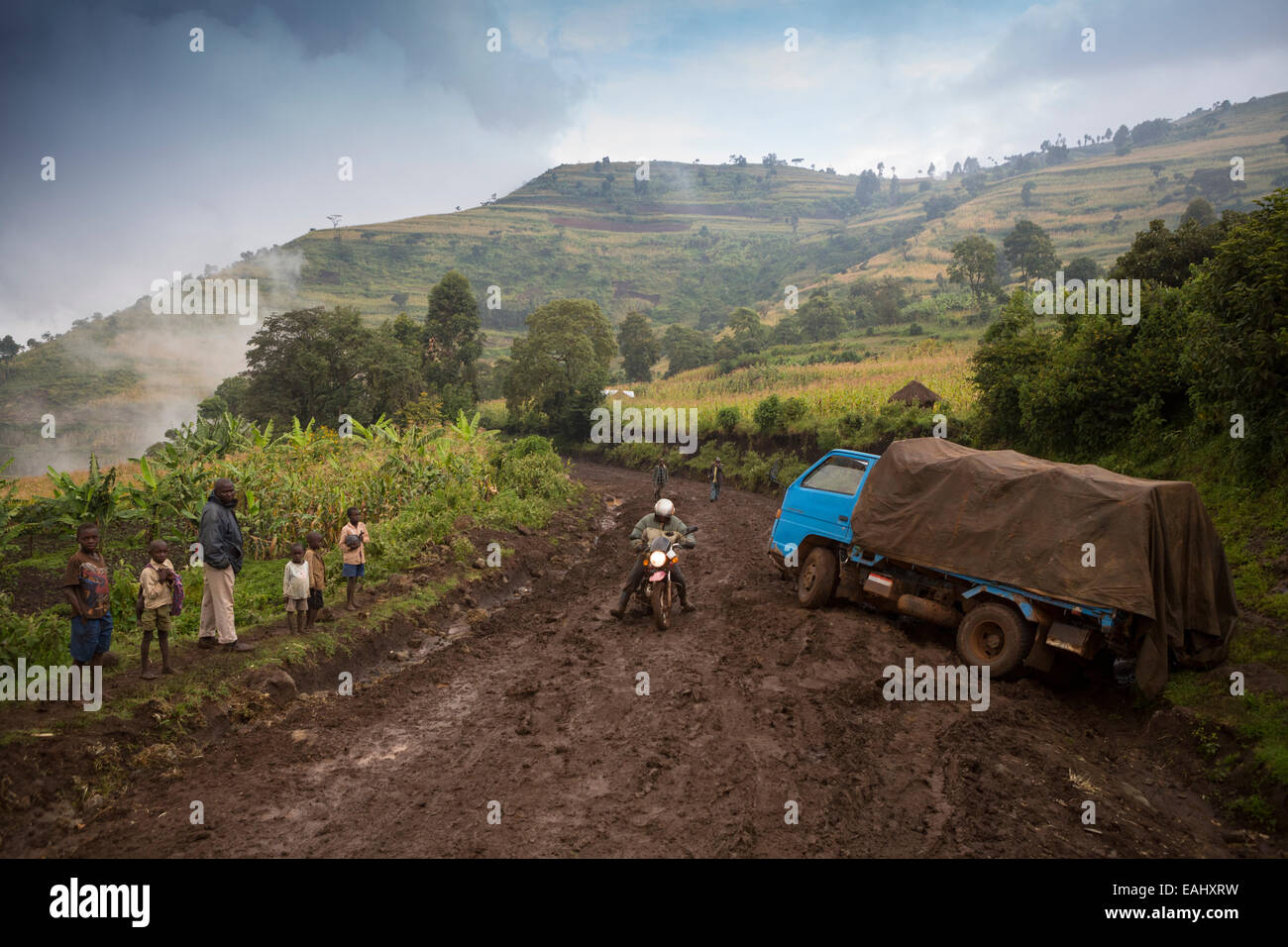 The roads of Bukwo District Uganda, located in the foothills of Mount Elgon, become impassible during times of heavy - Stock Image