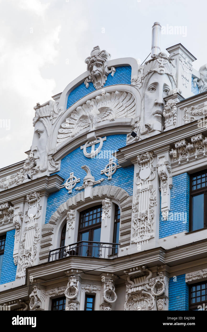 facade of blue and white art nouveau building designed by mikhail
