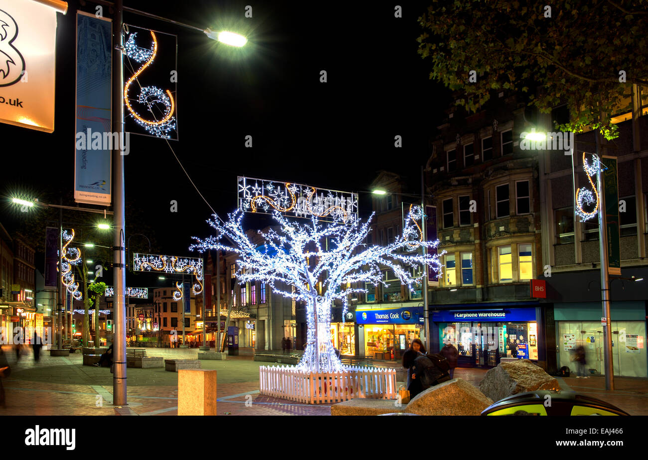 Christmas lights in the town of Reading, Berkshire, UK - Stock Image