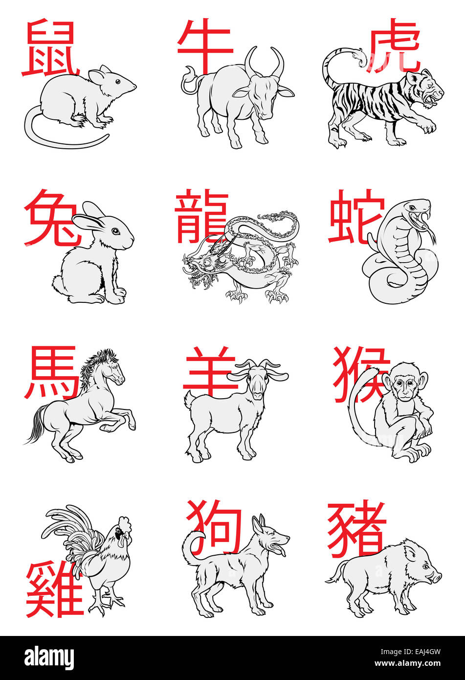 A series of Chinese New Year Zodiac Signs with the calligraphy writing behind each animal - Stock Image