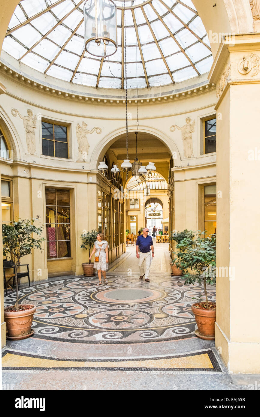 view from a rotunda towards the entrance of the historic galerie vivienne indoor shopping mall, paris, ile de france, Stock Photo