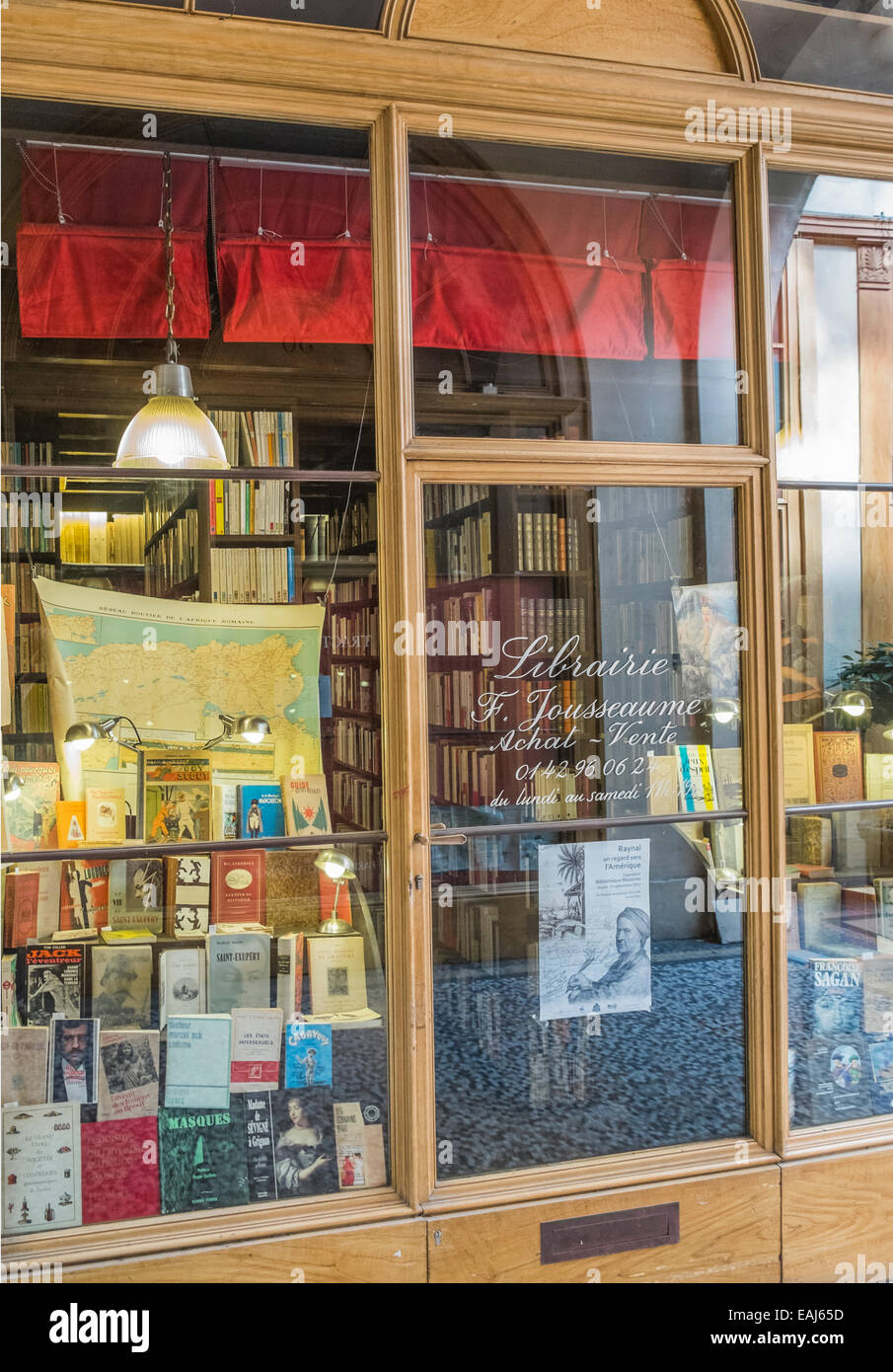 shop window of the antiquarian bookseller librairie jousseaume in the historic indoor shopping mall galerie vivienne, - Stock Image