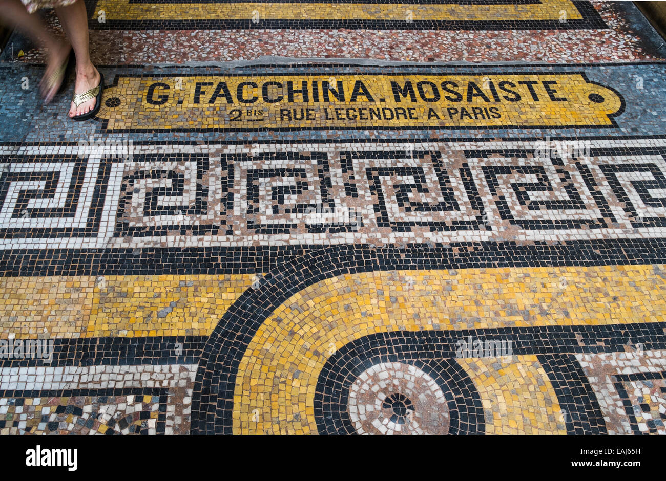 mosaic with the adress of mosaic artist g. facchina  in the  historic indoor shopping mall galerie vivienne, paris Stock Photo