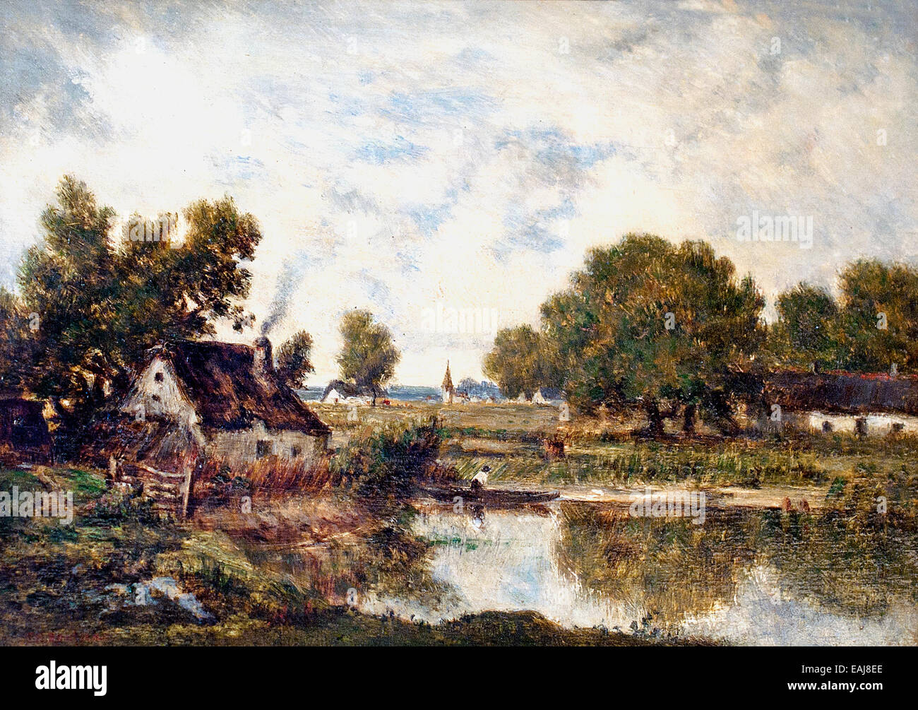 Chaumière près de étang - Cottage near pond by  Theodore Rousseau 1812-1867 France French - Stock Image