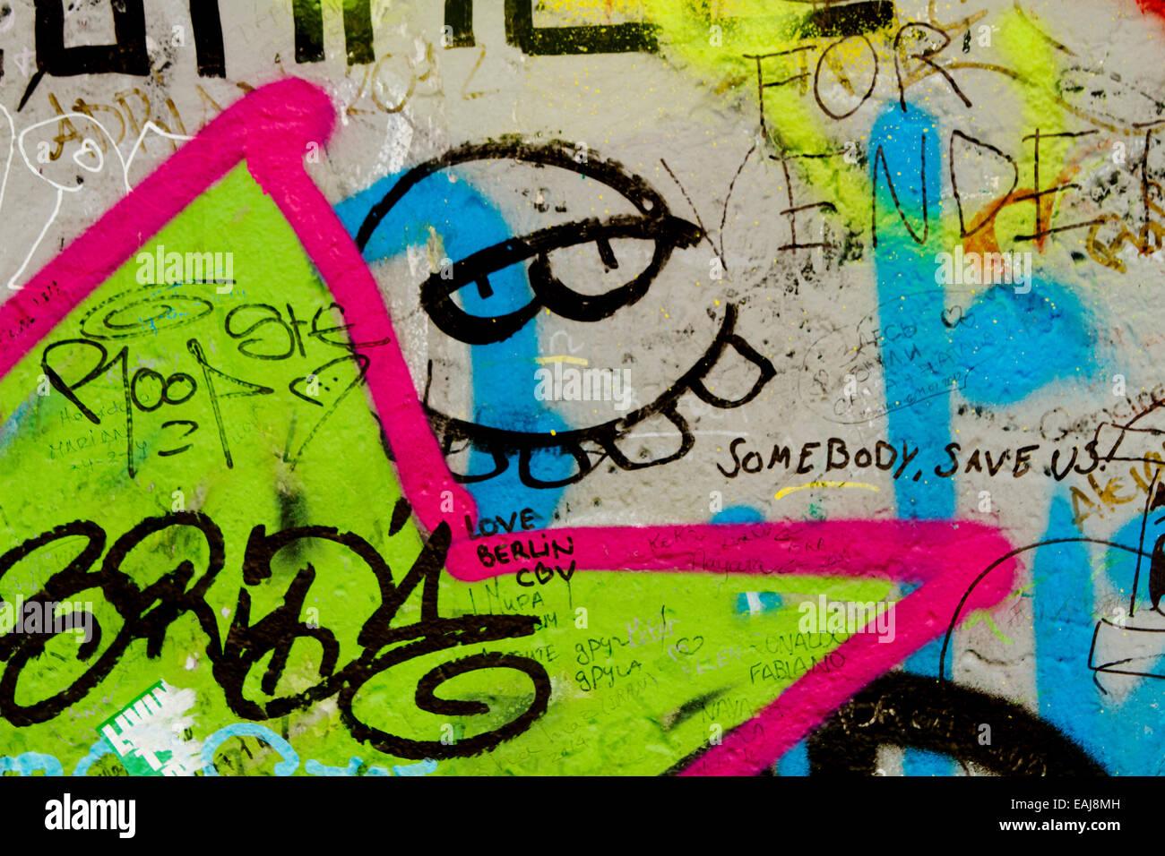 Graffiti street art berlin wall tags cartoon 80s