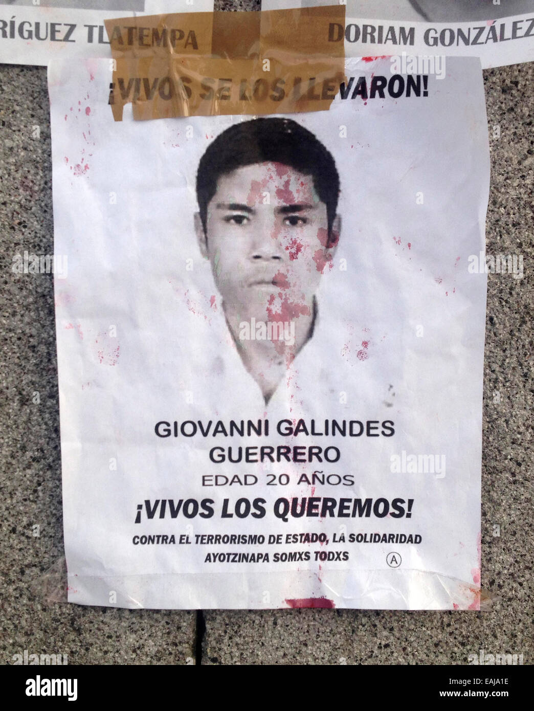 Guerrero State, Mexico. 15th Nov, 2014. A portrait of missing student Giovanni Galindez Guerrero painted with red Stock Photo
