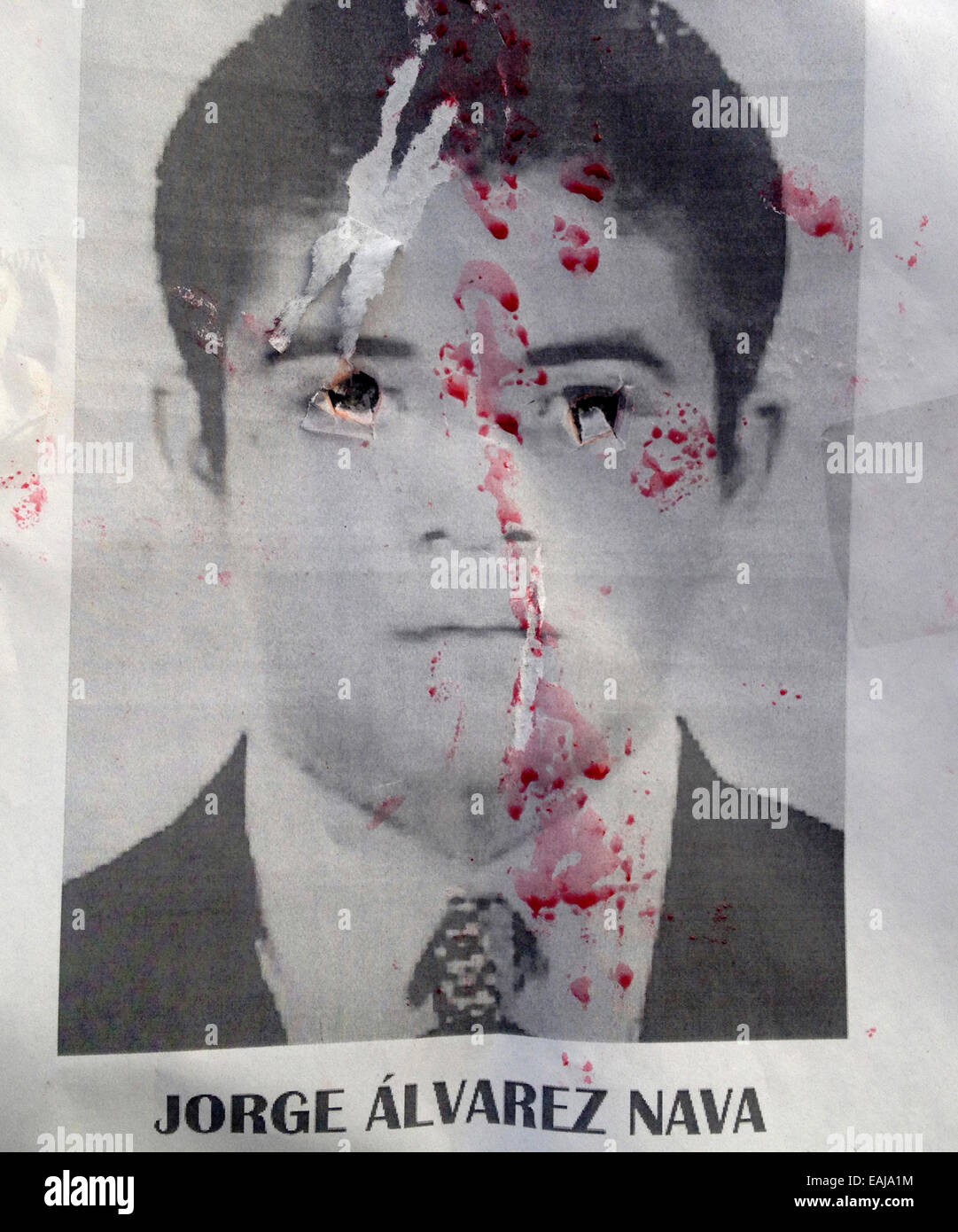 Guerrero State, Mexico. 15th Nov, 2014. A portrait of missing student Jorge Alvarez Nava painted with red paint - Stock Image
