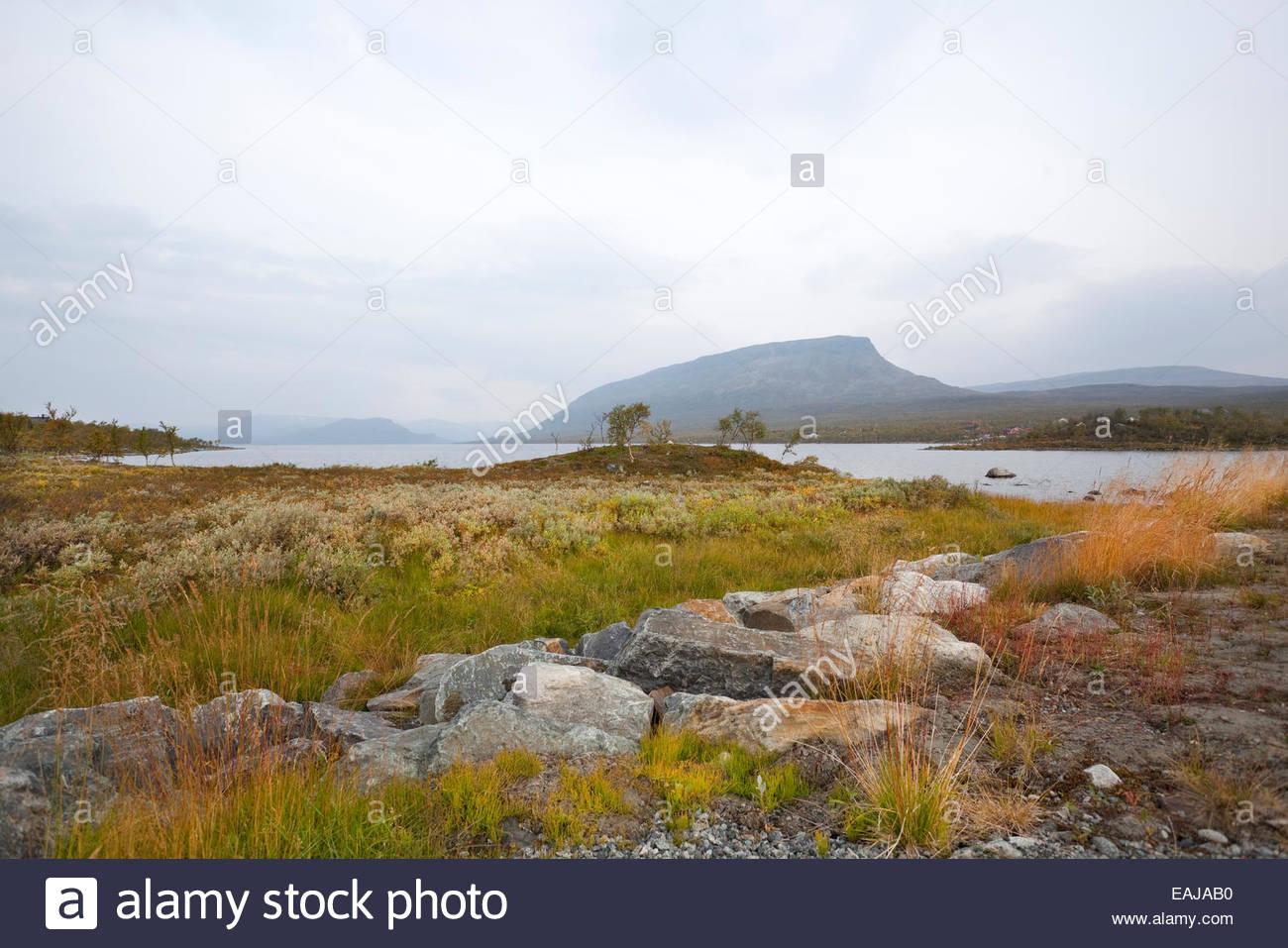 Saana fell by the lake Kilpisjärvi in Finnish Lapland - Stock Image