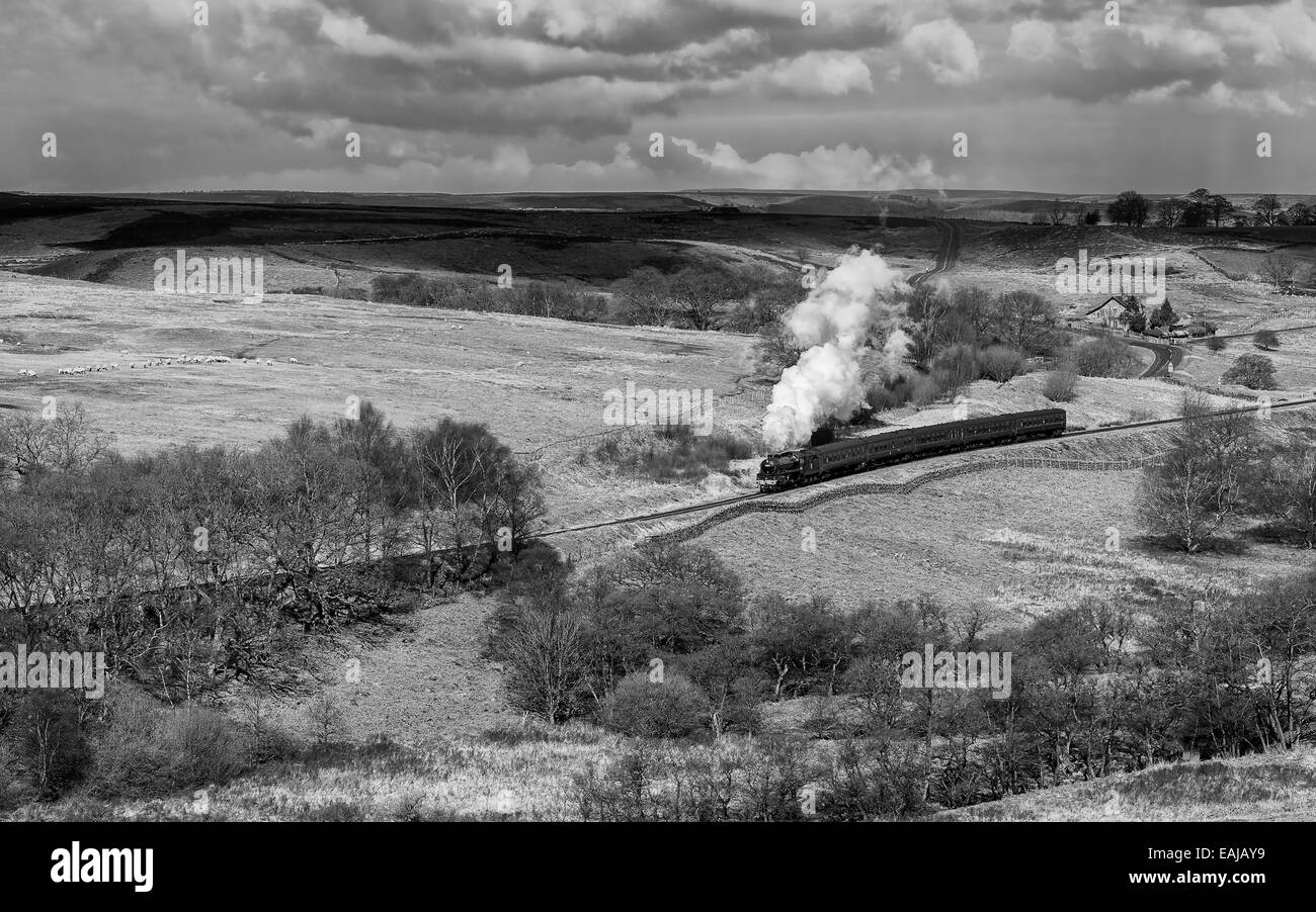 Vintage steam train of the north yorkshire moors steam railway cuts through the north york moors