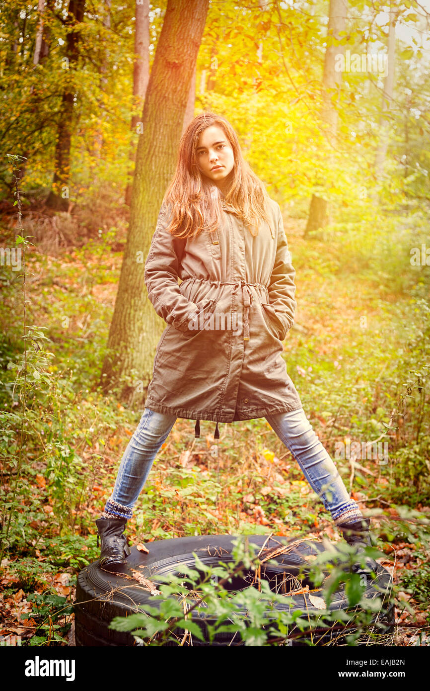 portrait of a beautiful teenage girl in an autumn forest Stock Photo