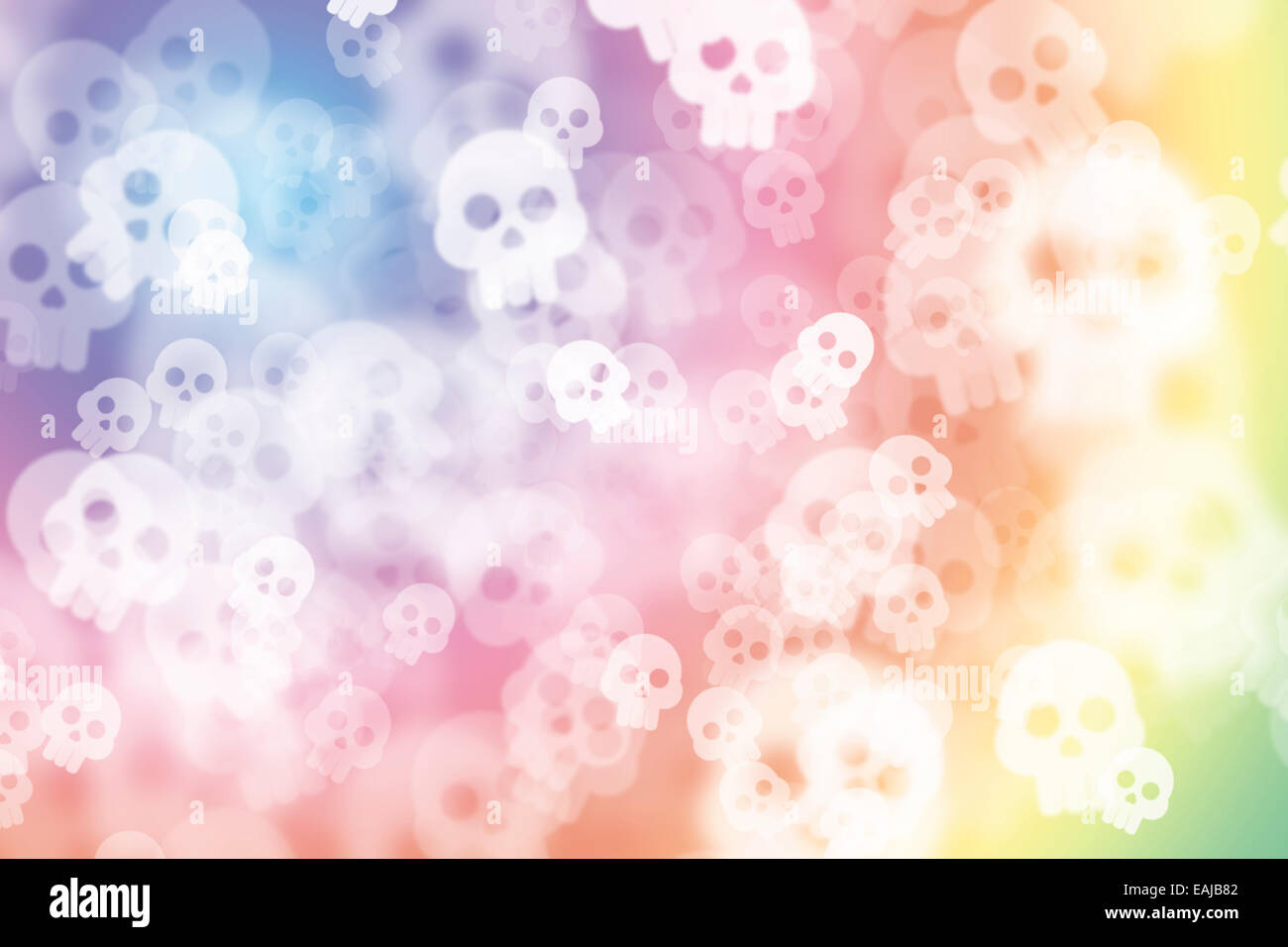 Colorful multi colored de-focused abstract photo blur, with skull - Stock Image