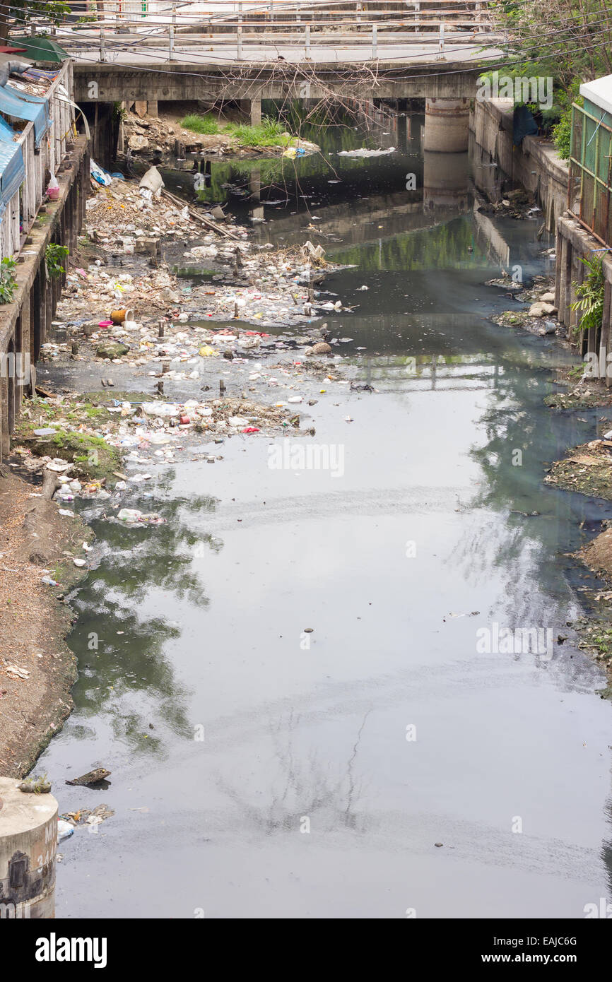 polluted River with rubbish in bangkok Thailand. - Stock Image