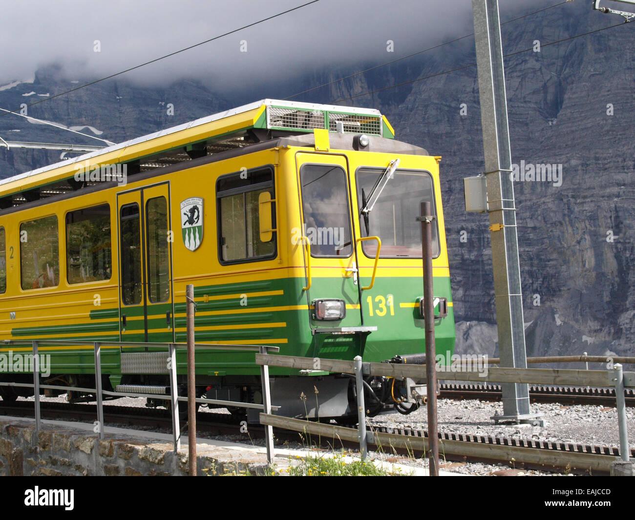 Narrow-gauge railway Lauterbrunnen – Kleine Scheidegg - Stock Image