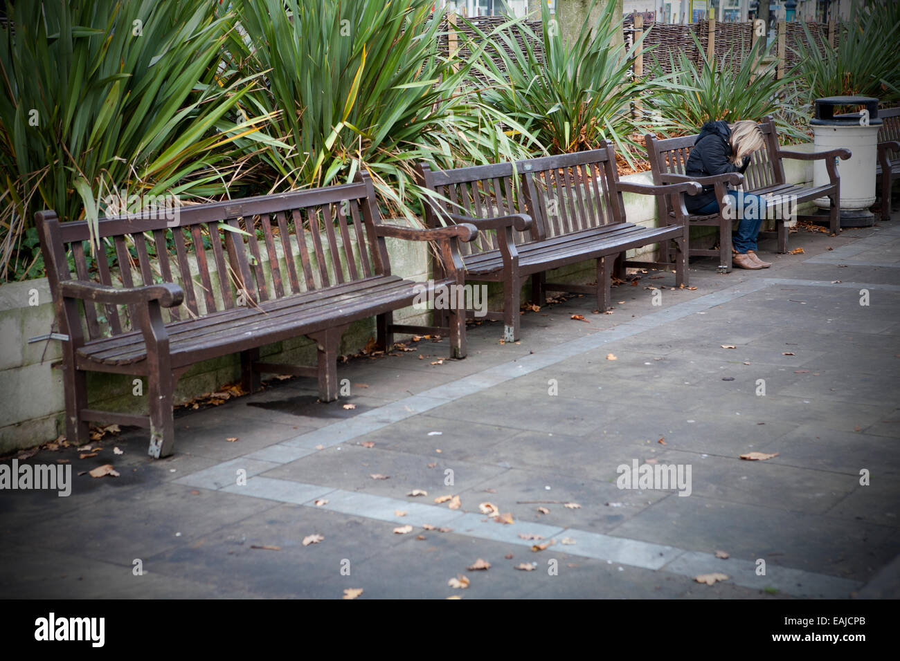 Solitary adult woman sitting alone with head in hands sitting on bench by herself, Southport, Merseyside,UK - Stock Image