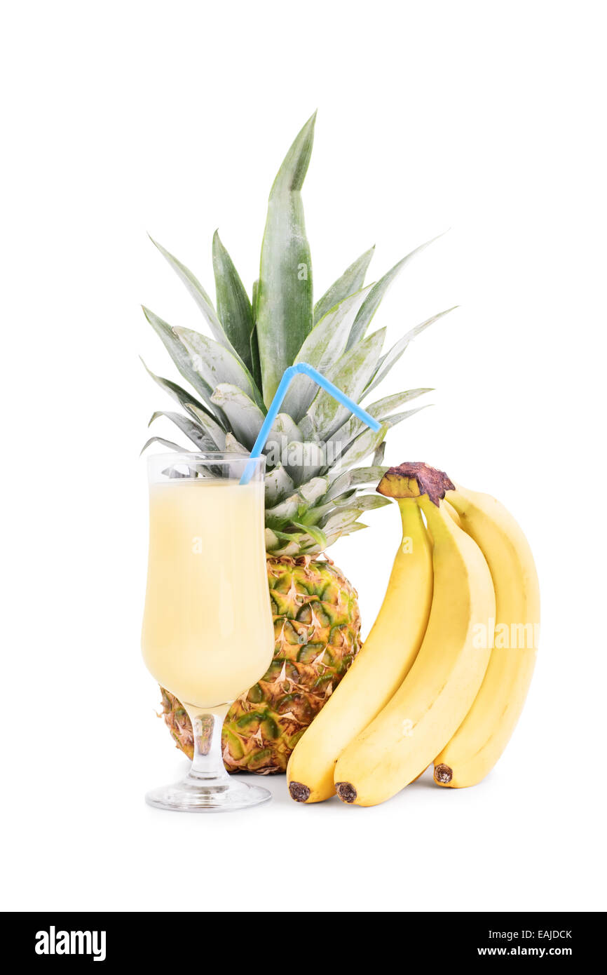 Bananas, pineapple and a glass of juice Stock Photo