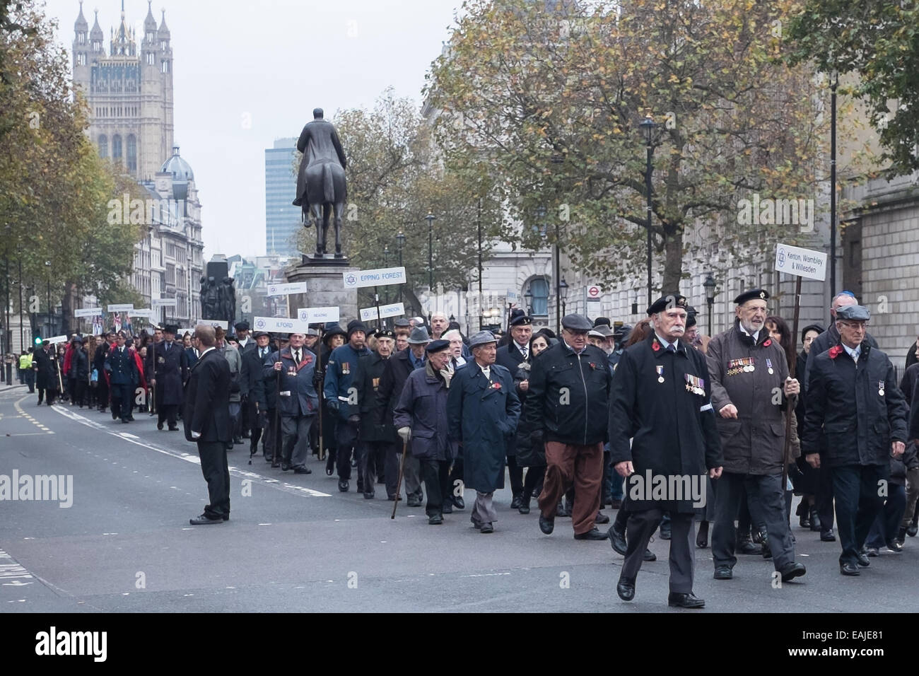 London, UK. 16th Nov, 2014. On Sunday Nov 16th the Association of Jewish Ex-Servicemen (AJEX) & Women paraded - Stock Image