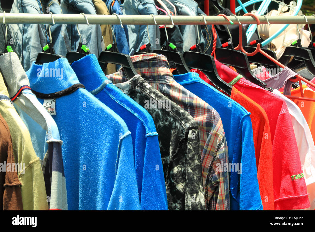 Maintaining dry sun shirts stretch cotton industry. - Stock Image