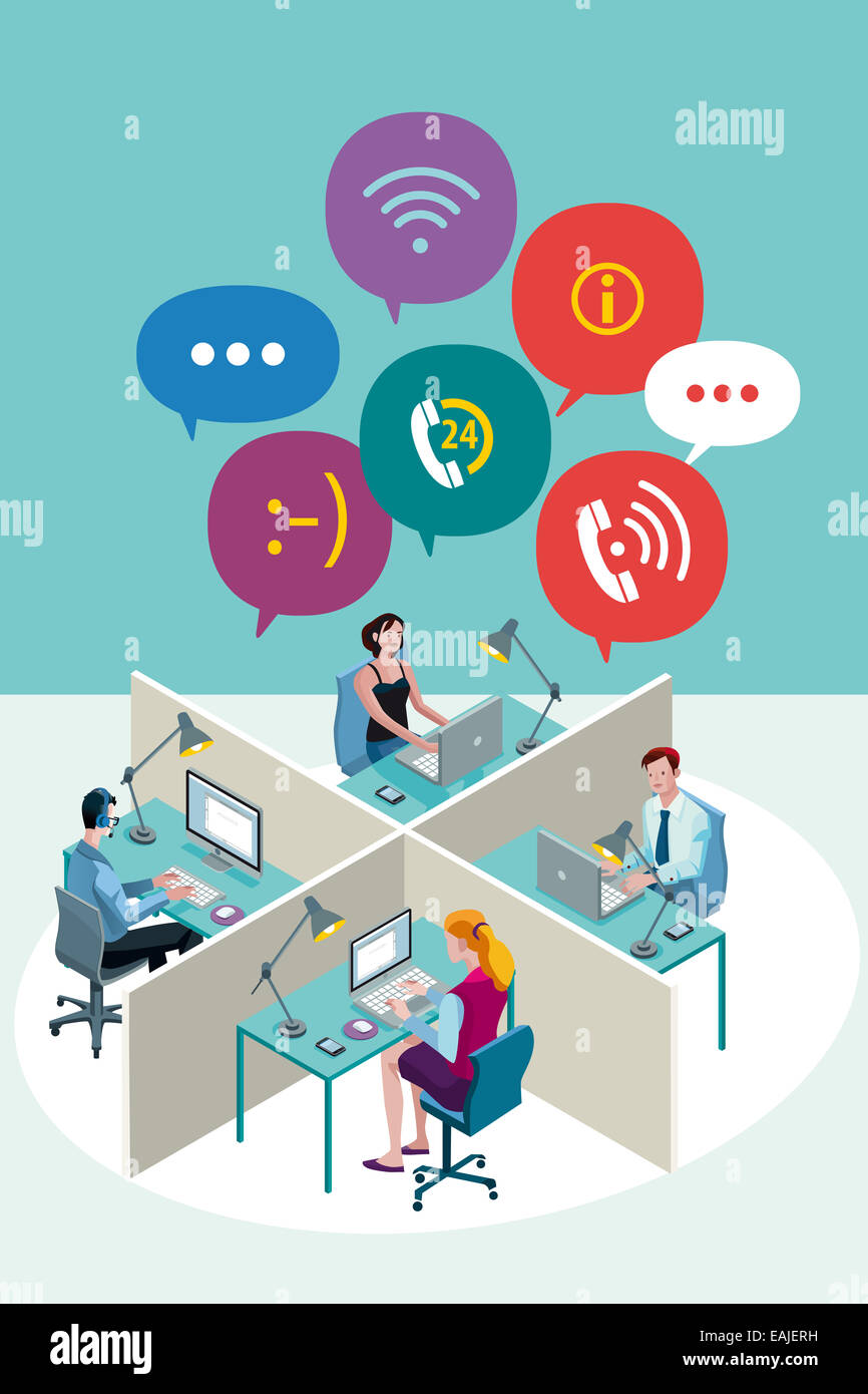 Four office Workers Working Sitting in a office with Speech Bubbles. Isometric perspective. - Stock Image