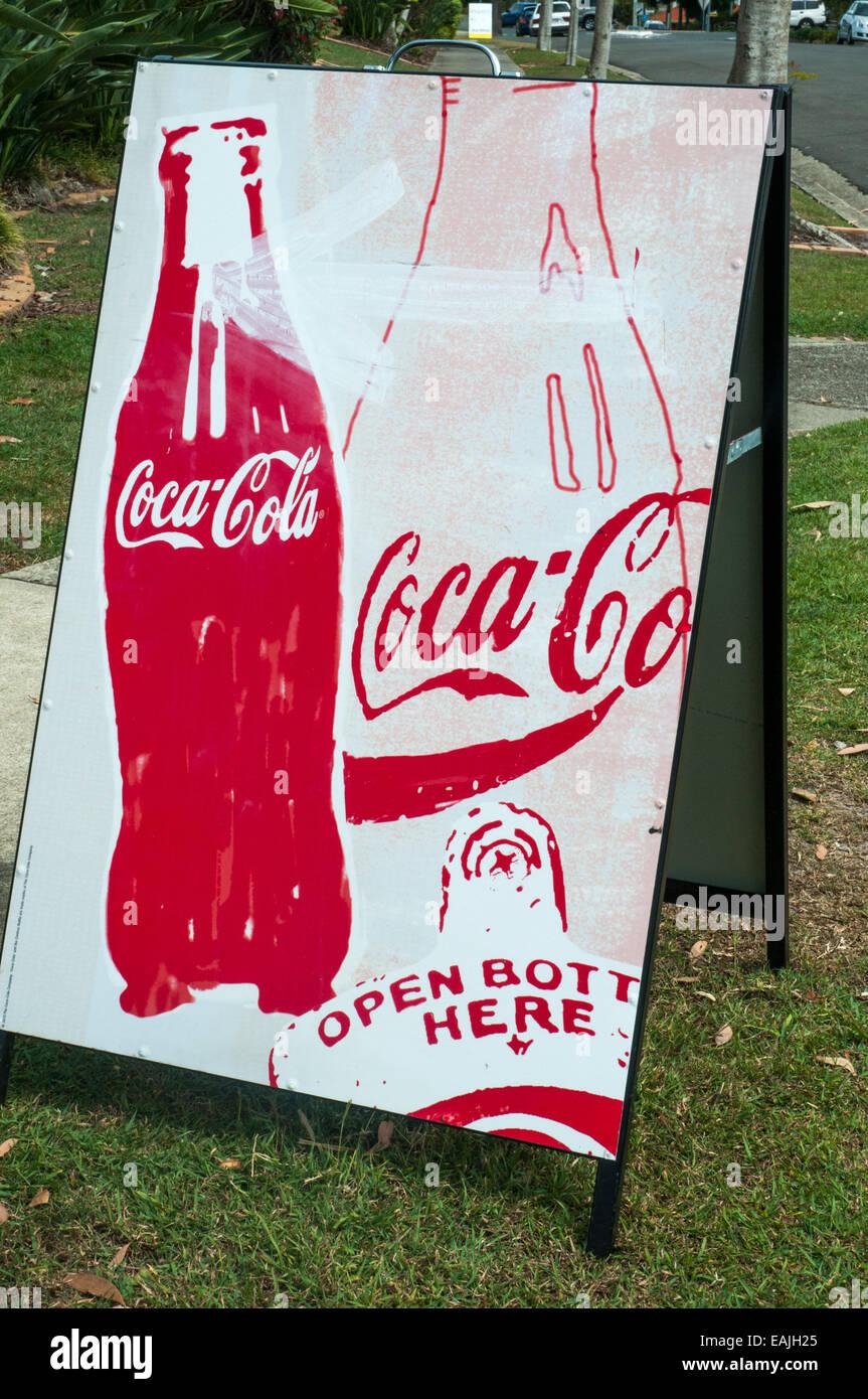 Hand-painted Coca Cola sandwich board, Caloundra, Sunshine Coast, Queensland, Australia - Stock Image