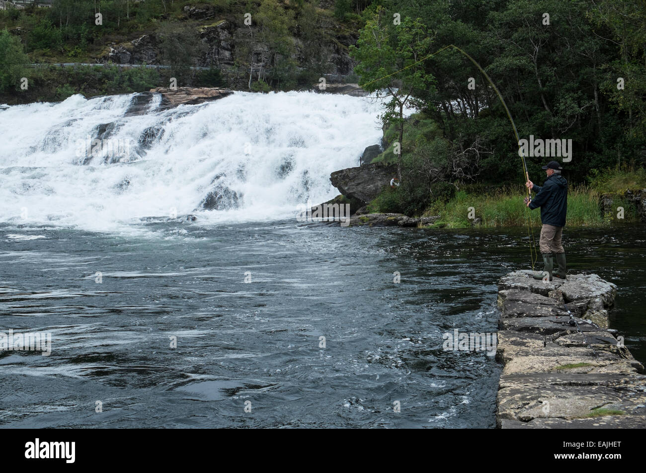 Salmon fly fisher in river Gaula, Norway - Stock Image
