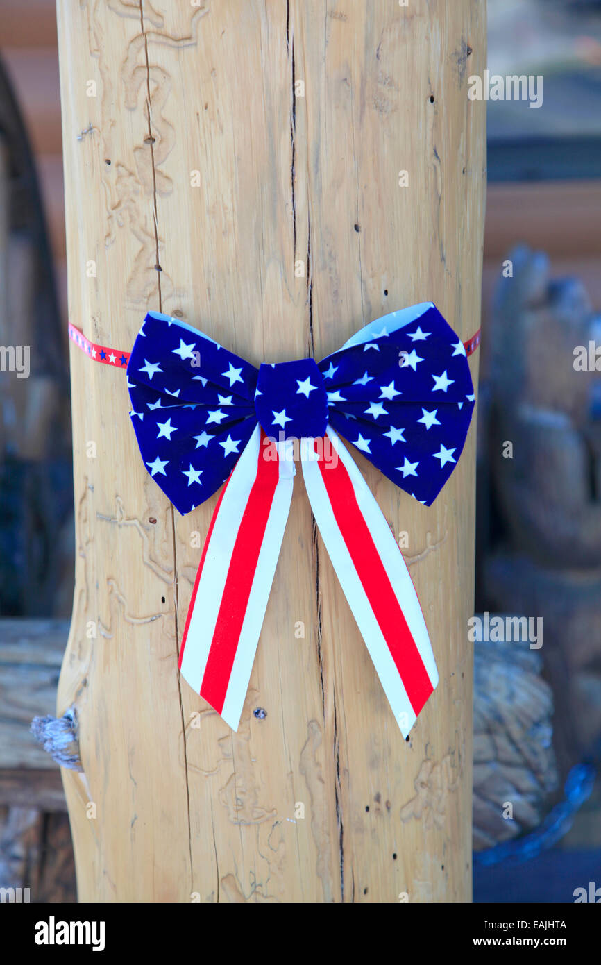 Decoration with American Flag as a Bow Tie. - Stock Image