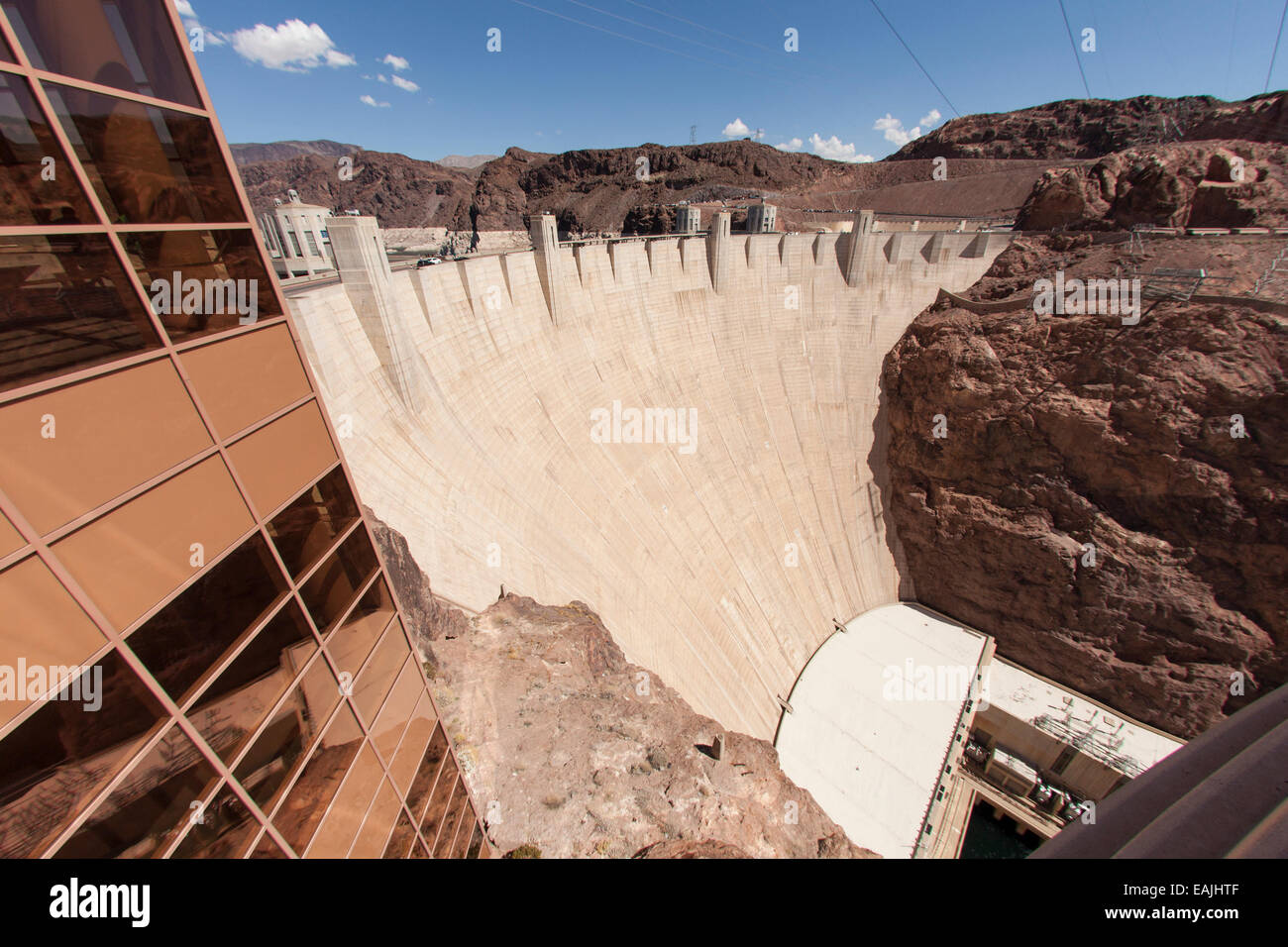 Hoover Dam from the visitor center. - Stock Image