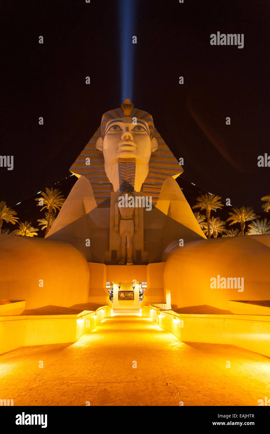 The Luxor sphinx lit up at night in Las Vegas. - Stock Image