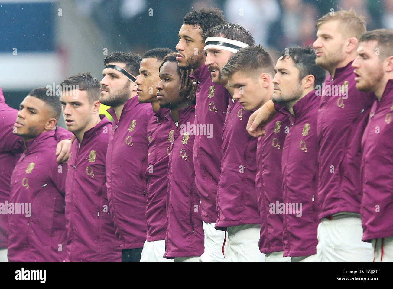London, UK. 15th Nov, 2014. England's Anthony Watson, who is starting his first match, and England's Marland - Stock Image
