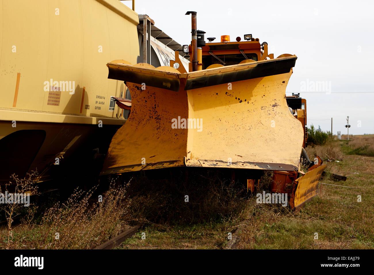 snowplow on kershaw ballast compactor regulator snow fighter leader Saskatchewan Canada - Stock Image