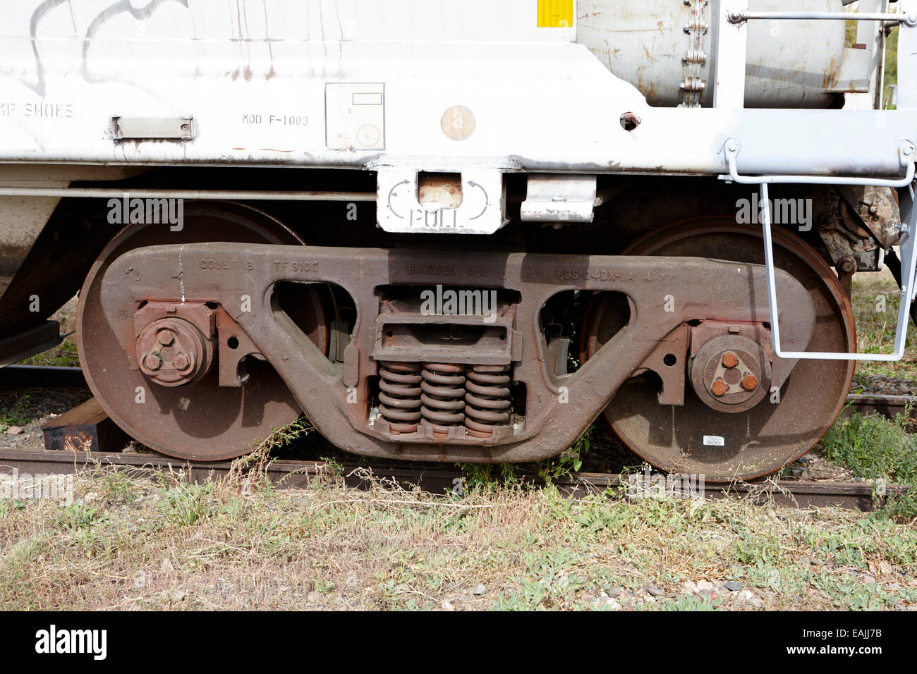 barber s-2 variable damped railroad car on a freight tanker Saskatchewan Canada - Stock Image